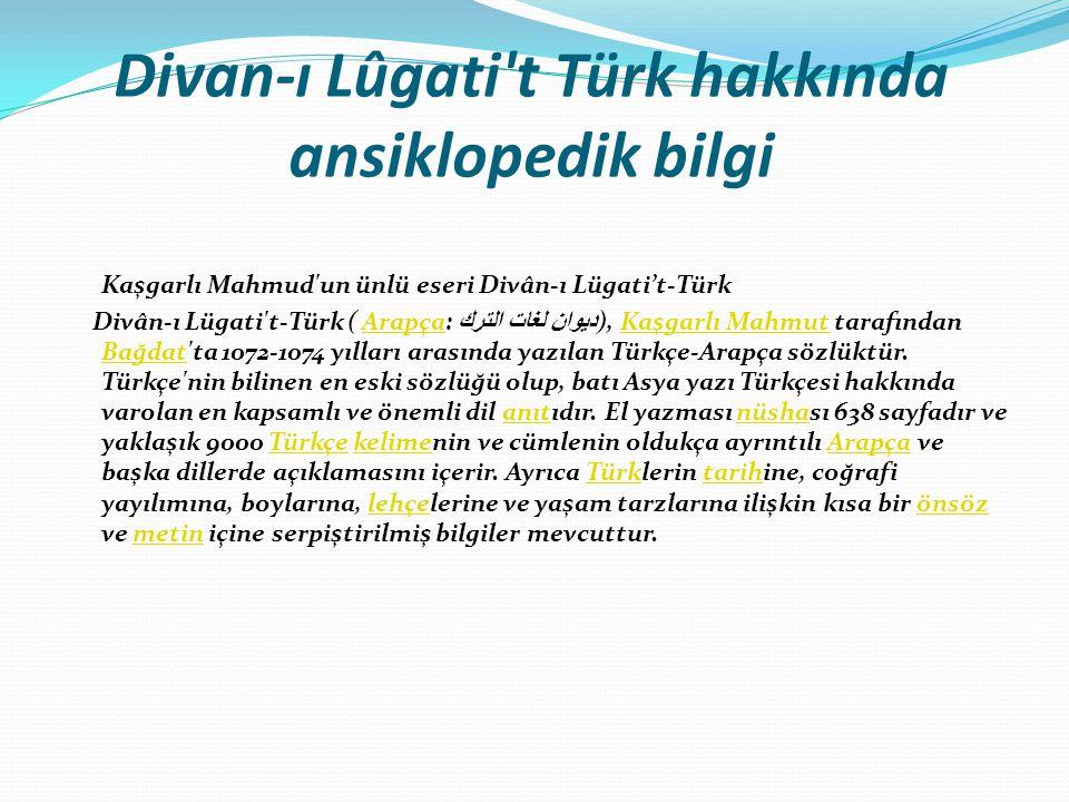 Divan-ı Lûgati t Türk hakkında ansiklopedik bilgi