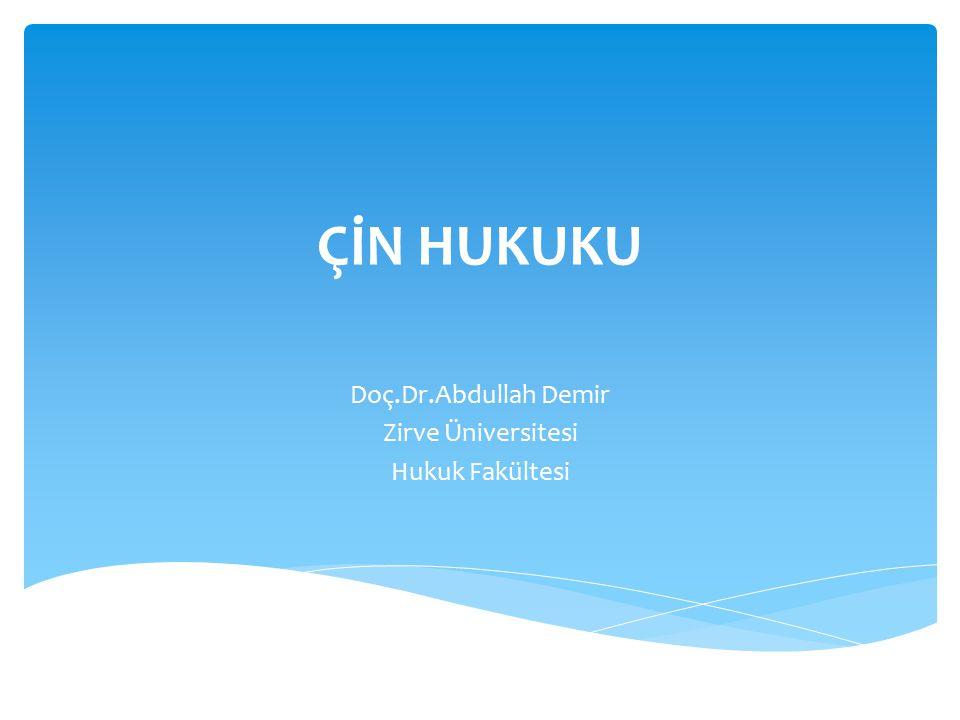Doç.Dr.Abdullah Demir Zirve Üniversitesi Hukuk Fakültesi