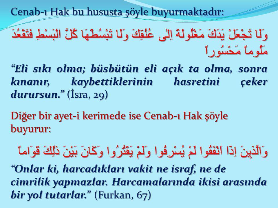 Cenab-ı Hak bu hususta şöyle buyurmaktadır: