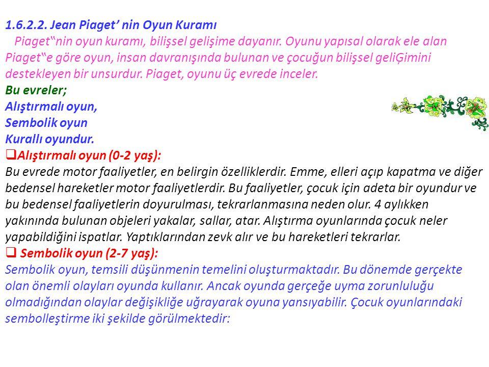 1.6.2.2. Jean Piaget' nin Oyun Kuramı