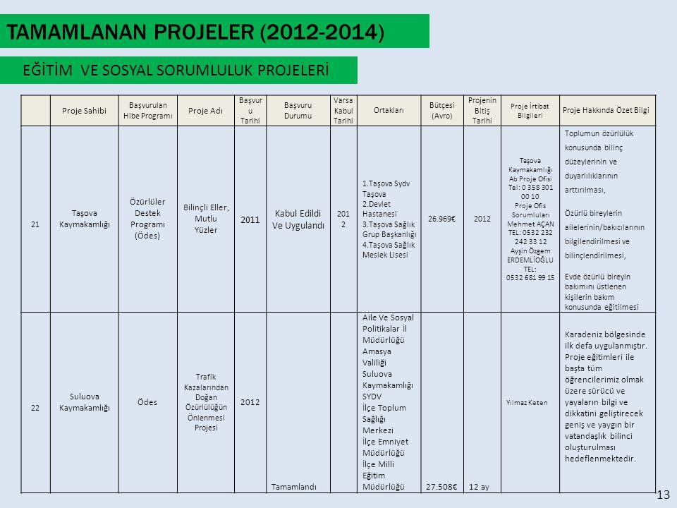 TAMAMLANAN PROJELER (2012-2014) TAMAMLANAN PROJELER
