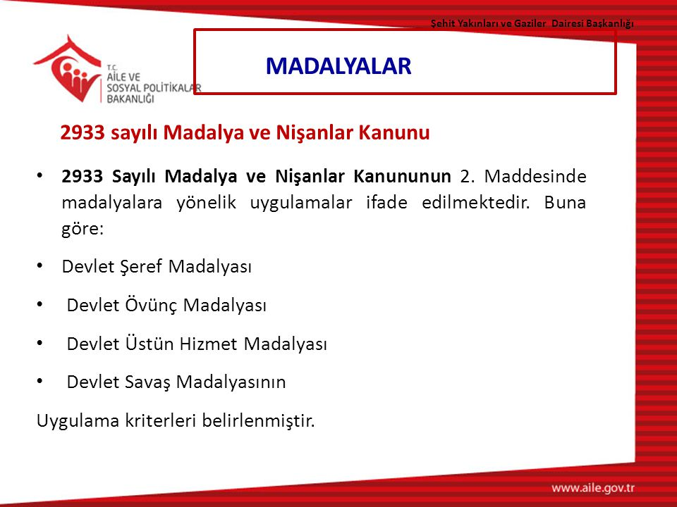 MADALYALAR 2933 sayılı Madalya ve Nişanlar Kanunu