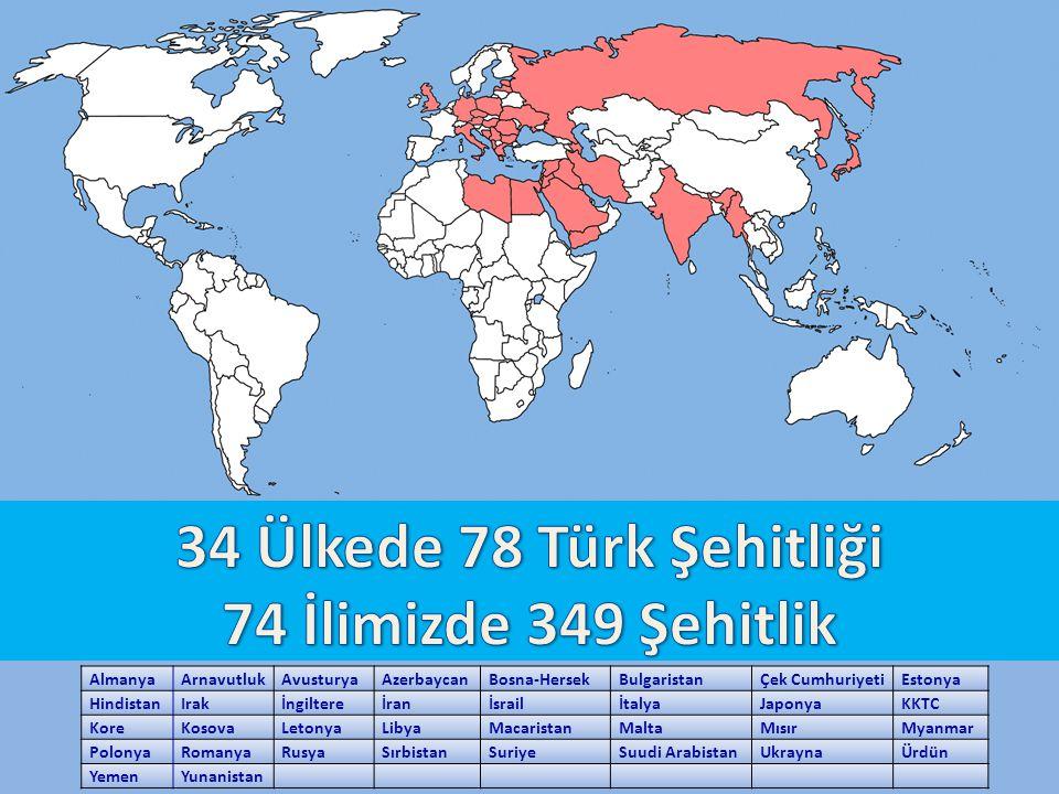 34 Ülkede 78 Türk Şehitliği 74 İlimizde 349 Şehitlik Almanya