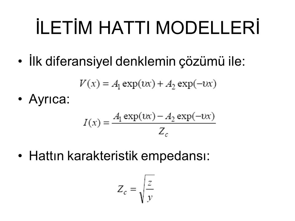 İLETİM HATTI MODELLERİ