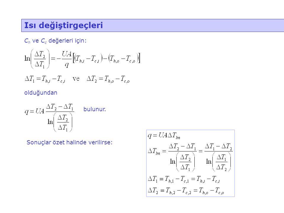 Isı değiştirgeçleri Ch ve Cc değerleri için: olduğundan bulunur.