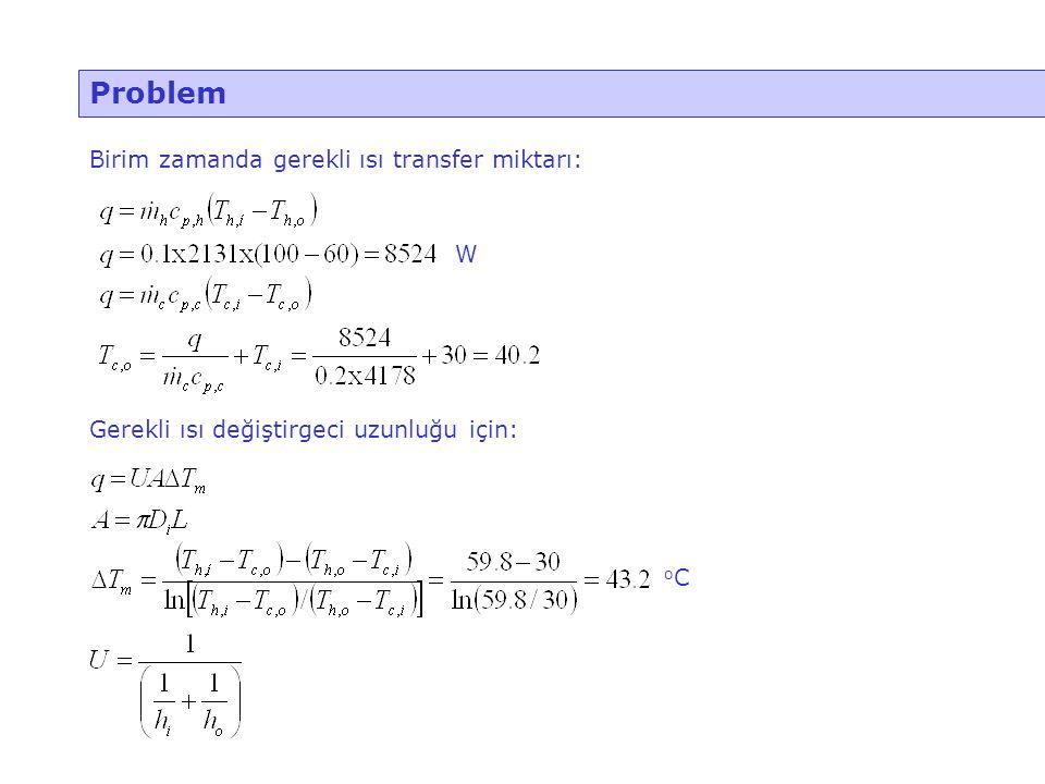 Problem Birim zamanda gerekli ısı transfer miktarı: W
