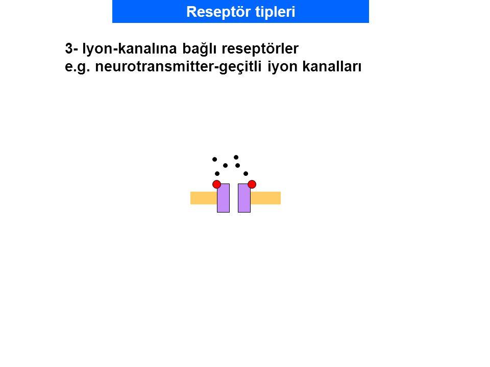Reseptör tipleri 3- Iyon-kanalına bağlı reseptörler e.g. neurotransmitter-geçitli iyon kanalları