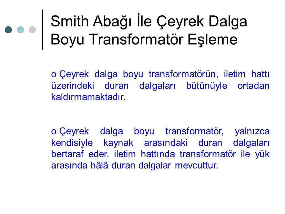 Smith Abağı İle Çeyrek Dalga Boyu Transformatör Eşleme