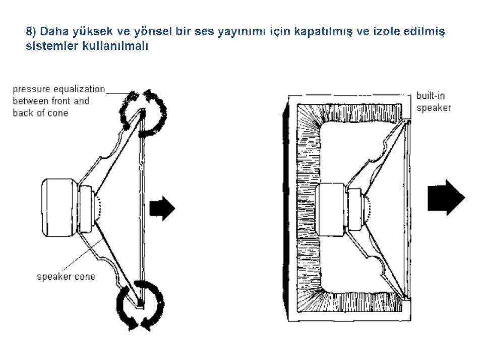 8) Daha yüksek ve yönsel bir ses yayınımı için kapatılmış ve izole edilmiş sistemler kullanılmalı