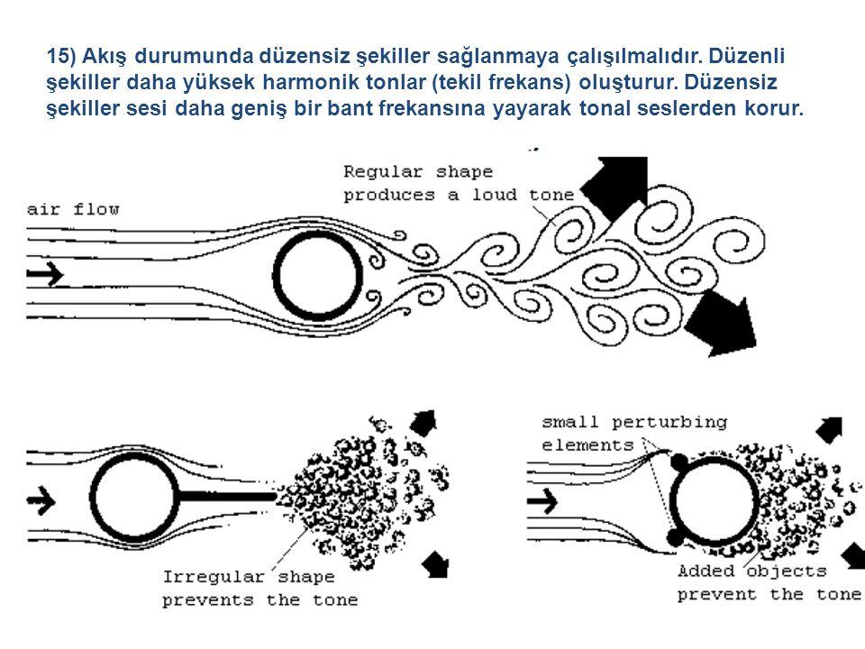 15) Akış durumunda düzensiz şekiller sağlanmaya çalışılmalıdır