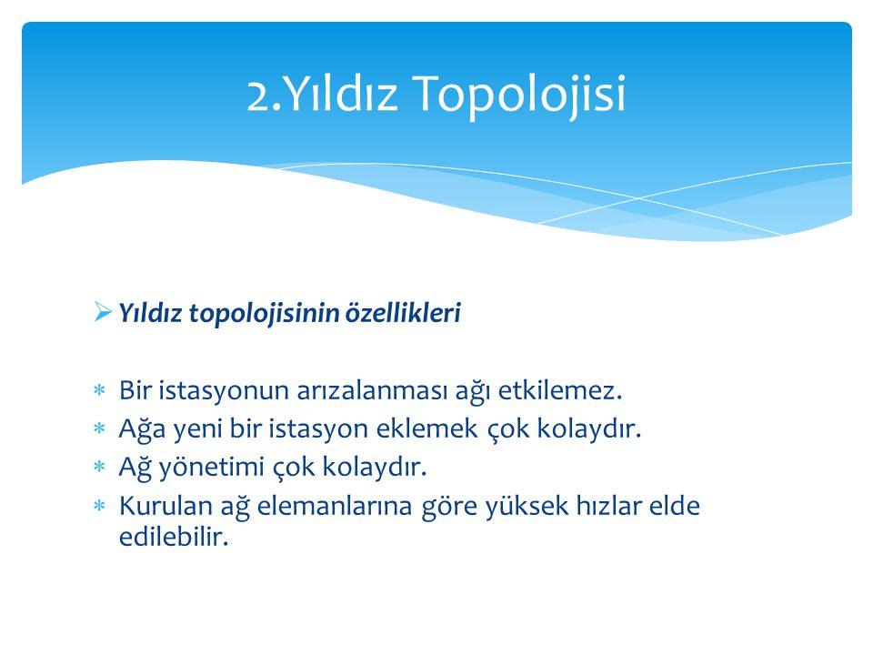 2.Yıldız Topolojisi Yıldız topolojisinin özellikleri