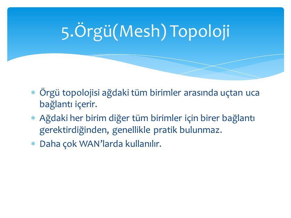 5.Örgü(Mesh) Topoloji Örgü topolojisi ağdaki tüm birimler arasında uçtan uca bağlantı içerir.