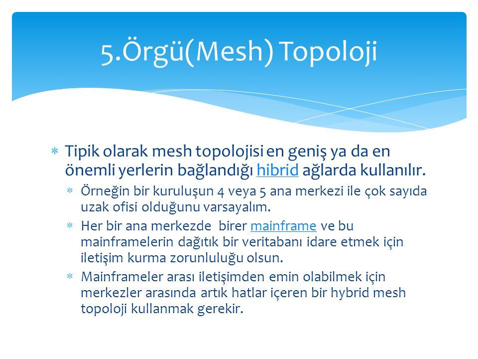 5.Örgü(Mesh) Topoloji Tipik olarak mesh topolojisi en geniş ya da en önemli yerlerin bağlandığı hibrid ağlarda kullanılır.