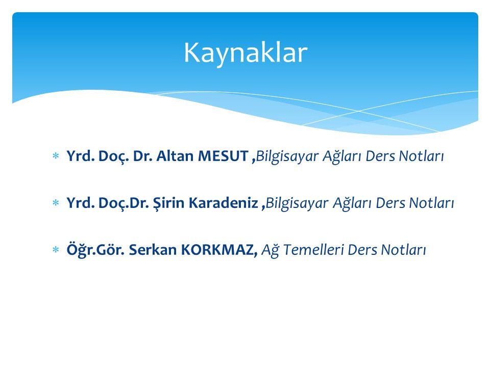 Kaynaklar Yrd. Doç. Dr. Altan MESUT ,Bilgisayar Ağları Ders Notları
