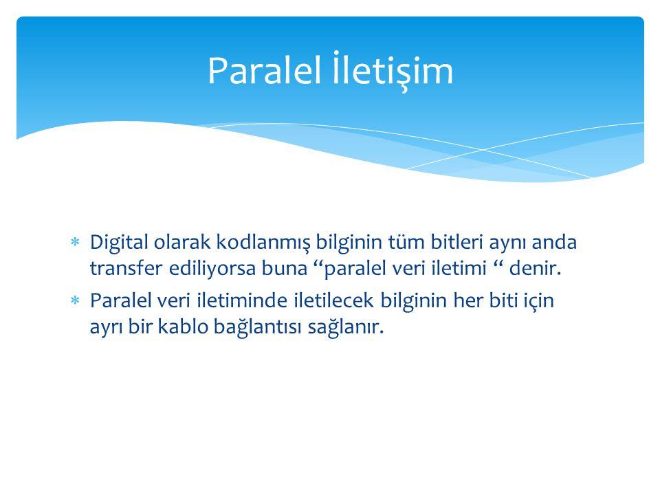Paralel İletişim Digital olarak kodlanmış bilginin tüm bitleri aynı anda transfer ediliyorsa buna paralel veri iletimi denir.