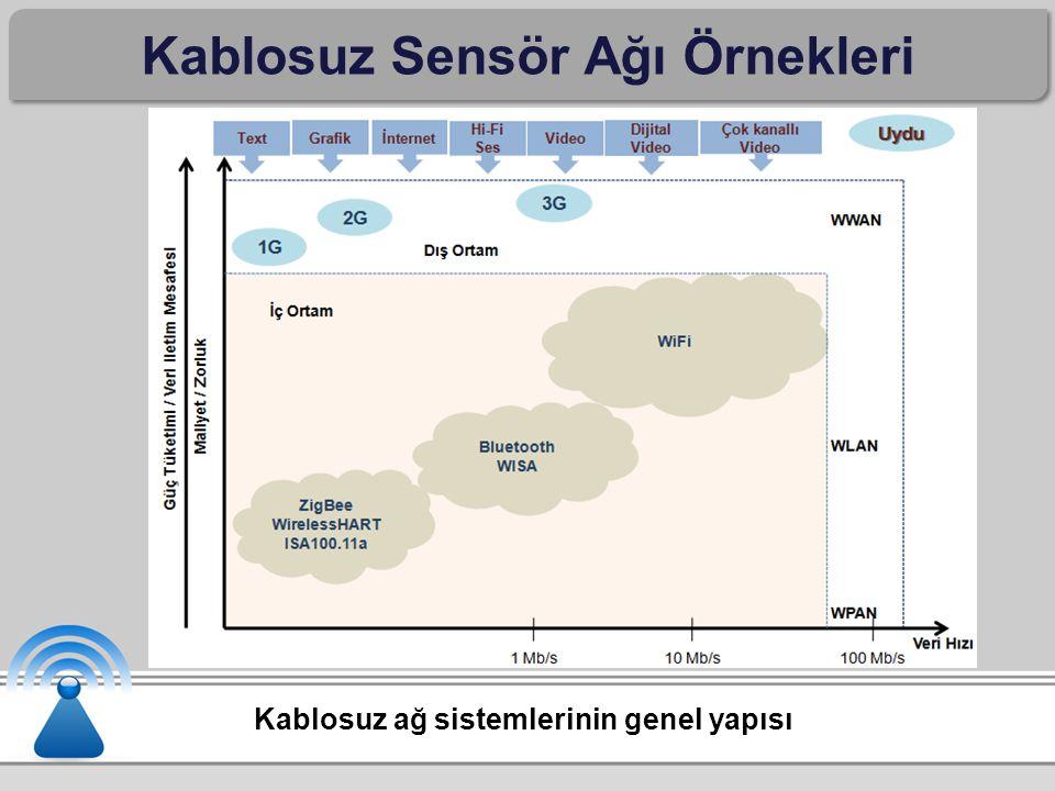 Kablosuz Sensör Ağı Örnekleri Kablosuz ağ sistemlerinin genel yapısı