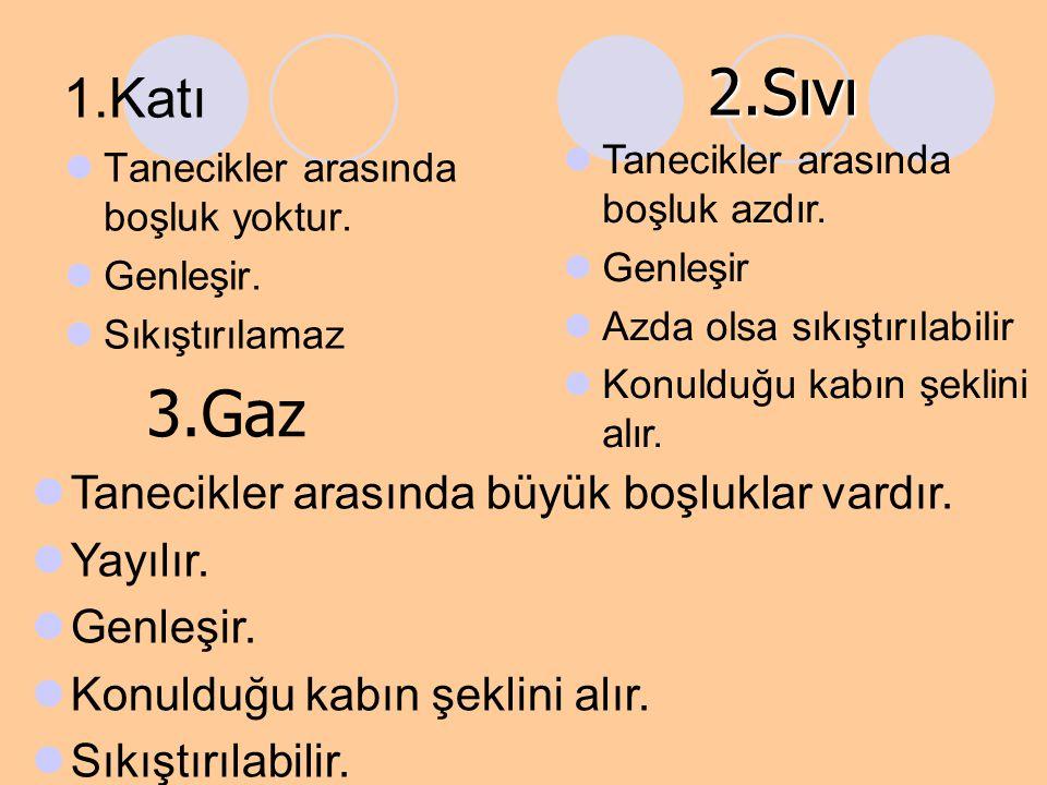 2.Sıvı 3.Gaz 1.Katı Tanecikler arasında büyük boşluklar vardır.