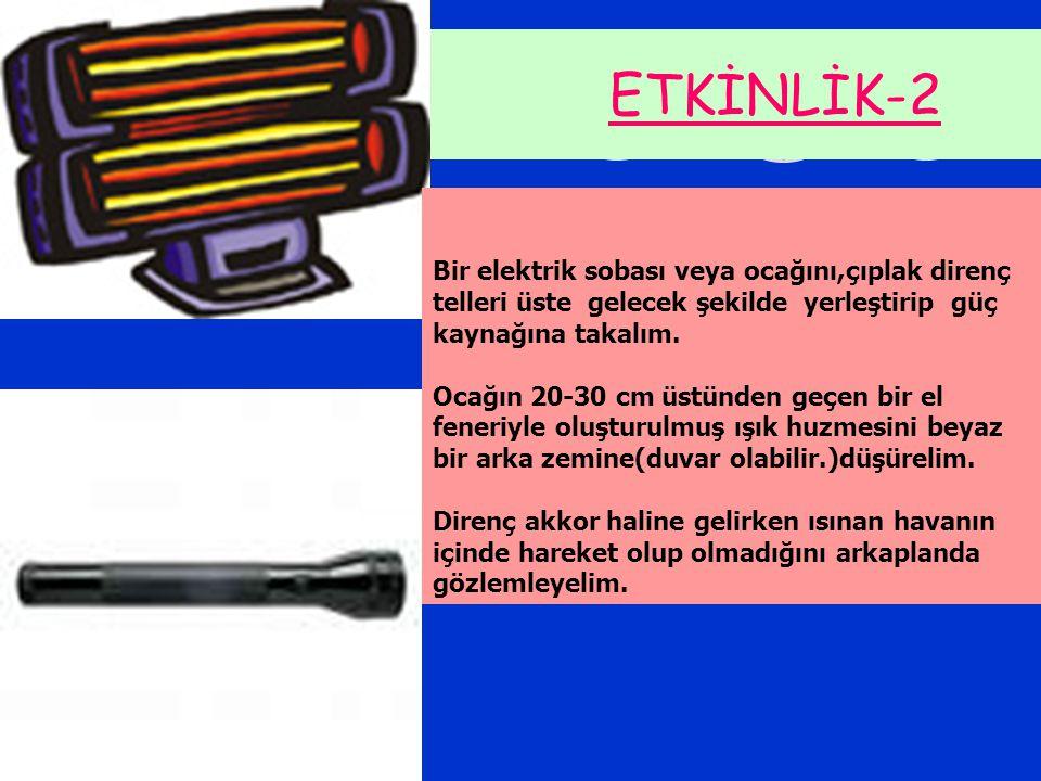ETKİNLİK-2 Bir elektrik sobası veya ocağını,çıplak direnç