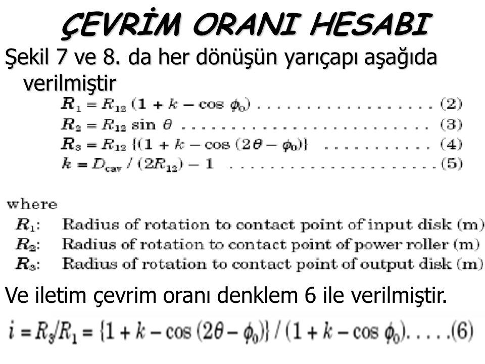 ÇEVRİM ORANI HESABI Şekil 7 ve 8. da her dönüşün yarıçapı aşağıda verilmiştir.