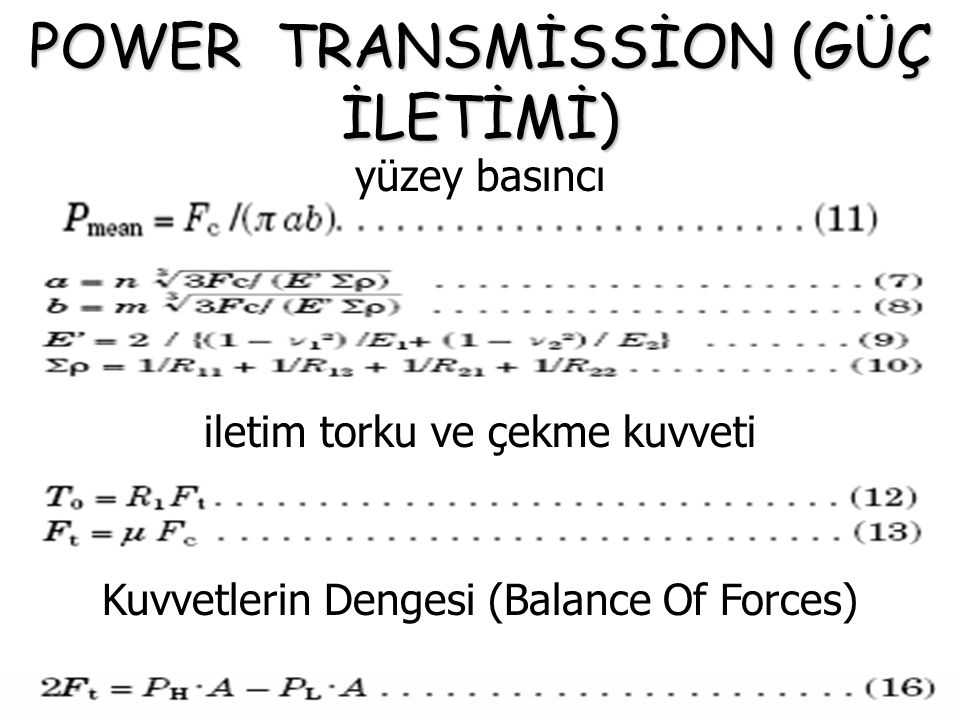 POWER TRANSMİSSİON (GÜÇ İLETİMİ)