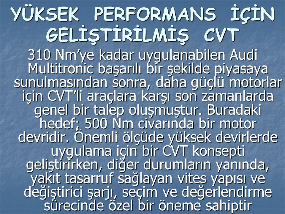 YÜKSEK PERFORMANS İÇİN GELİŞTİRİLMİŞ CVT