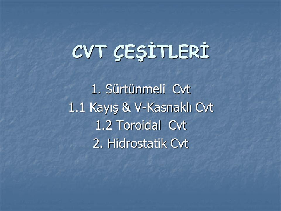 CVT ÇEŞİTLERİ 1. Sürtünmeli Cvt 1.1 Kayış & V-Kasnaklı Cvt