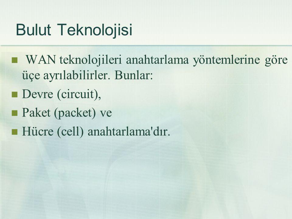 Bulut Teknolojisi WAN teknolojileri anahtarlama yöntemlerine göre üçe ayrılabilirler. Bunlar: Devre (circuit),