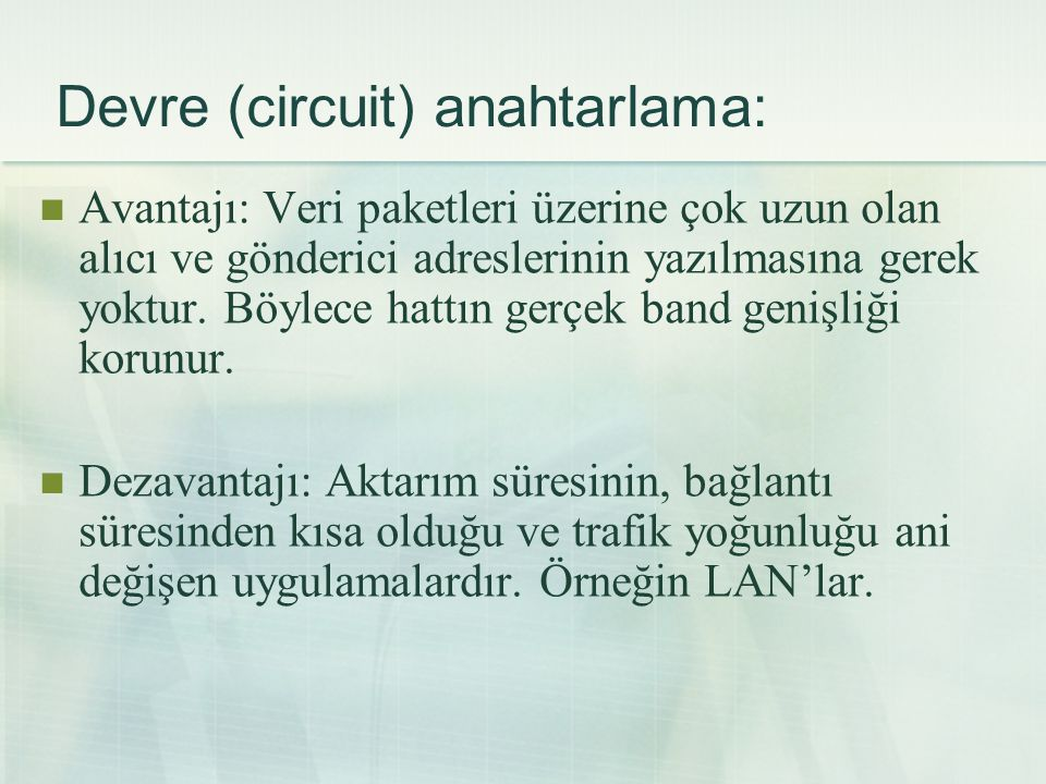 Devre (circuit) anahtarlama:
