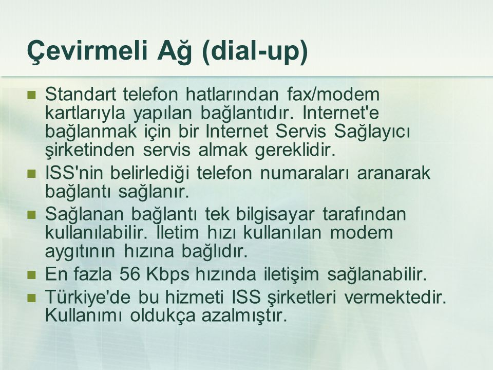 Çevirmeli Ağ (dial-up)
