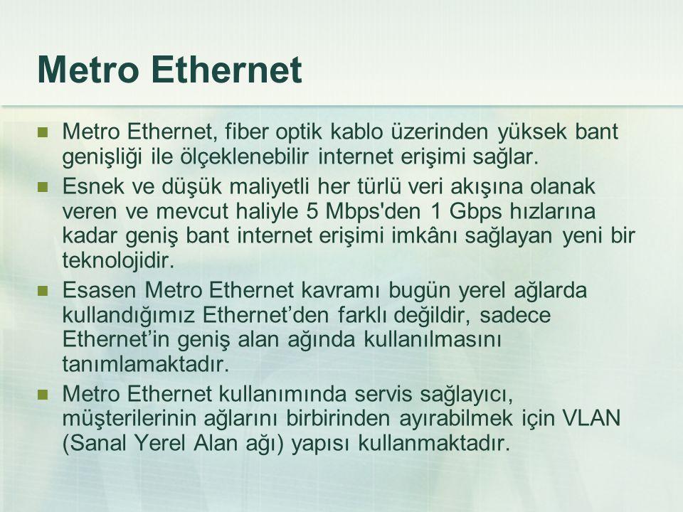 Metro Ethernet Metro Ethernet, fiber optik kablo üzerinden yüksek bant genişliği ile ölçeklenebilir internet erişimi sağlar.