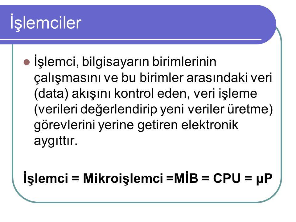 İşlemci = Mikroişlemci =MİB = CPU = μP