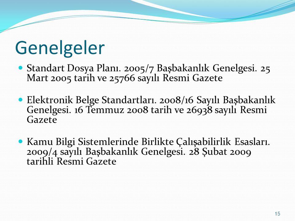 Genelgeler Standart Dosya Planı. 2005/7 Başbakanlık Genelgesi. 25 Mart 2005 tarih ve 25766 sayılı Resmi Gazete.