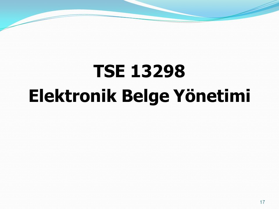TSE 13298 Elektronik Belge Yönetimi