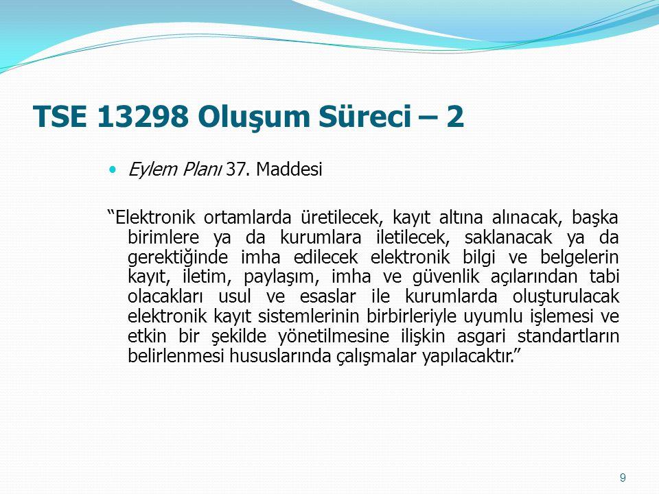 TSE 13298 Oluşum Süreci – 2 Eylem Planı 37. Maddesi