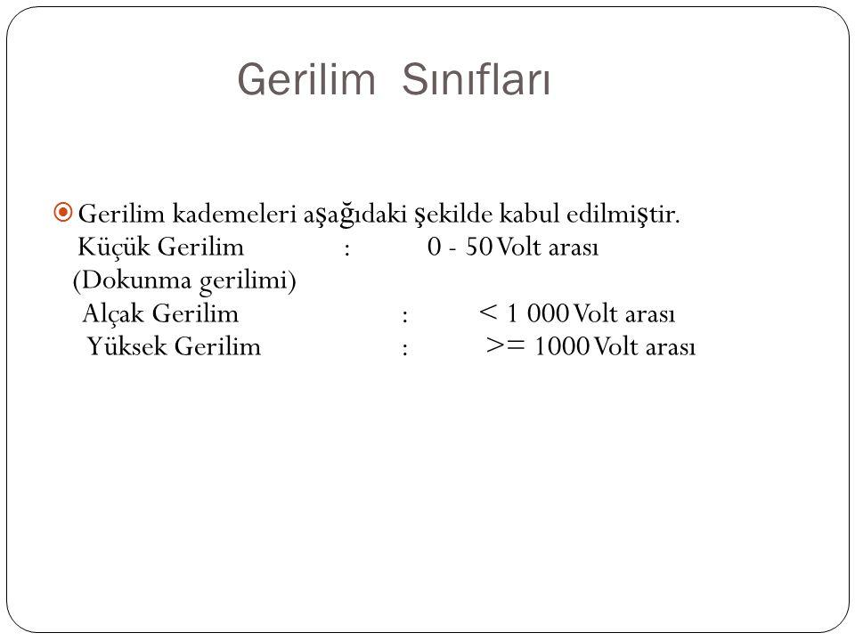 Gerilim Sınıfları Gerilim kademeleri aşağıdaki şekilde kabul edilmiştir. Küçük Gerilim : 0 - 50 Volt arası.