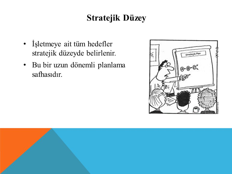Stratejik Düzey İşletmeye ait tüm hedefler stratejik düzeyde belirlenir.