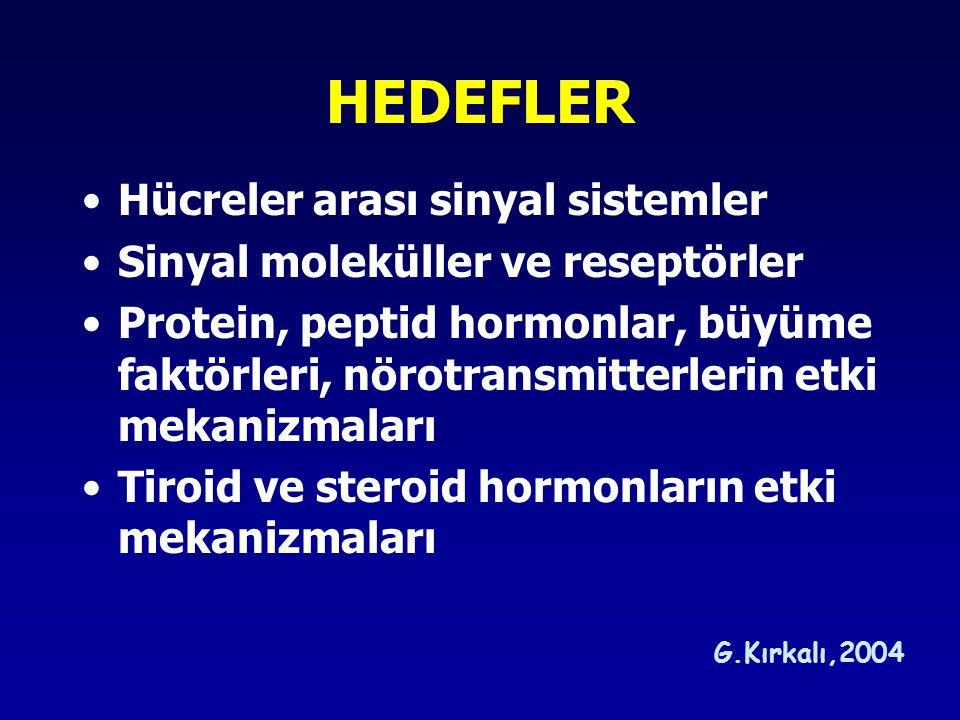 HEDEFLER Hücreler arası sinyal sistemler