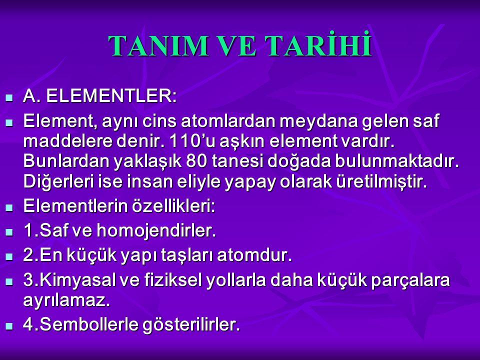 TANIM VE TARİHİ A. ELEMENTLER: