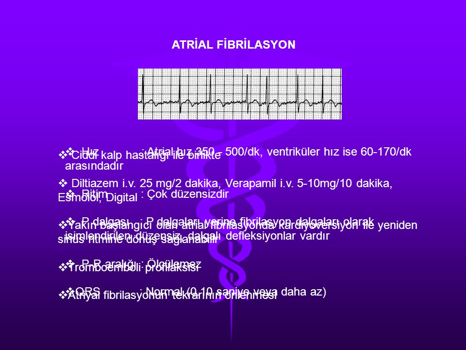 ATRİAL FİBRİLASYON Hız : Atrial hız 350 - 500/dk, ventriküler hız ise 60-170/dk arasındadır.
