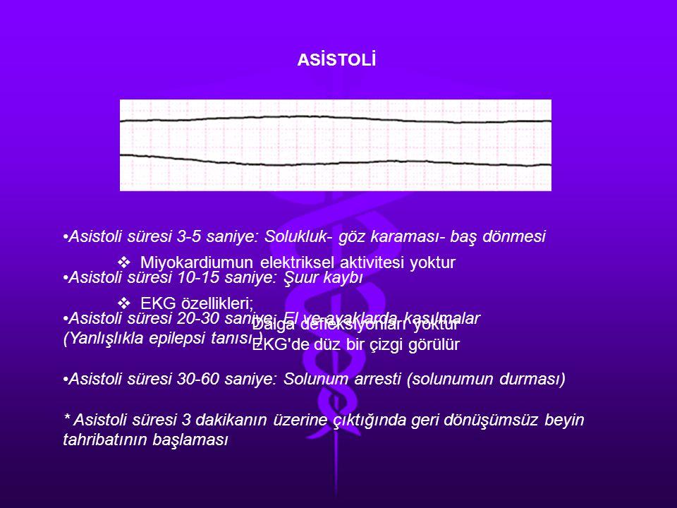 ASİSTOLİ Asistoli süresi 3-5 saniye: Solukluk- göz karaması- baş dönmesi. Asistoli süresi 10-15 saniye: Şuur kaybı.