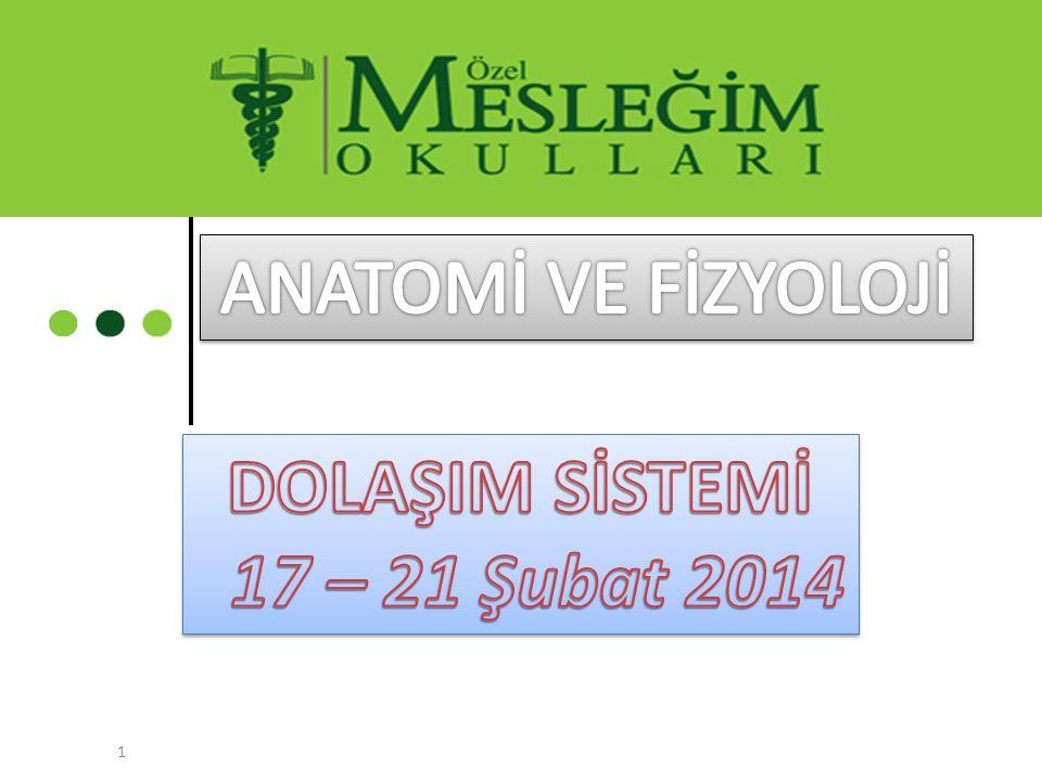 ANATOMİ VE FİZYOLOJİ DOLAŞIM SİSTEMİ 17 – 21 Şubat 2014