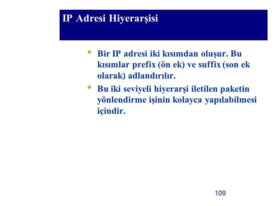 IP Adresi Hiyerarşisi Bir IP adresi iki kısımdan oluşur. Bu kısımlar prefix (ön ek) ve suffix (son ek olarak) adlandırılır.