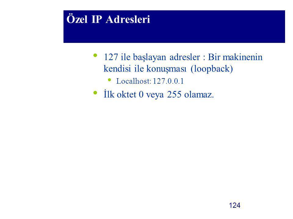 Özel IP Adresleri 127 ile başlayan adresler : Bir makinenin kendisi ile konuşması (loopback) Localhost: 127.0.0.1.
