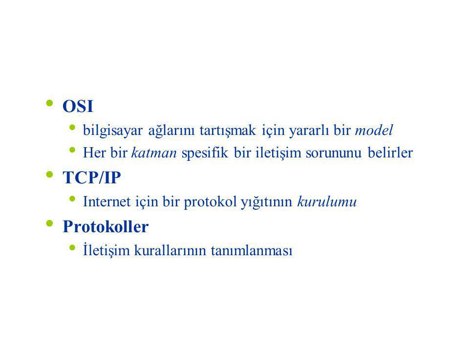 Özet OSI TCP/IP Protokoller