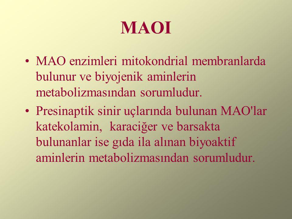 MAOI MAO enzimleri mitokondrial membranlarda bulunur ve biyojenik aminlerin metabolizmasından sorumludur.