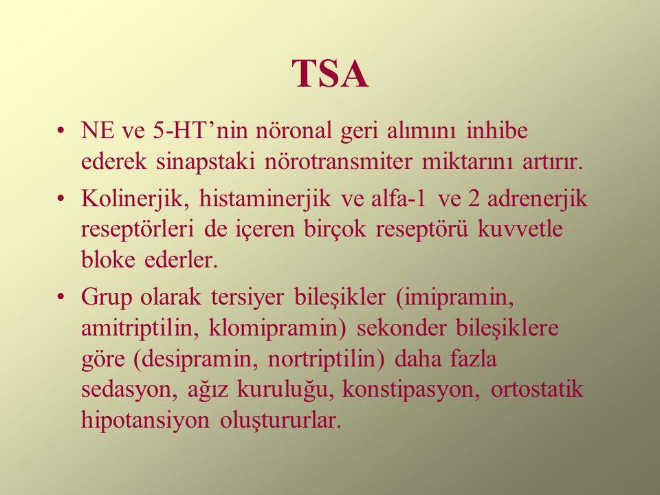 TSA NE ve 5-HT'nin nöronal geri alımını inhibe ederek sinapstaki nörotransmiter miktarını artırır.
