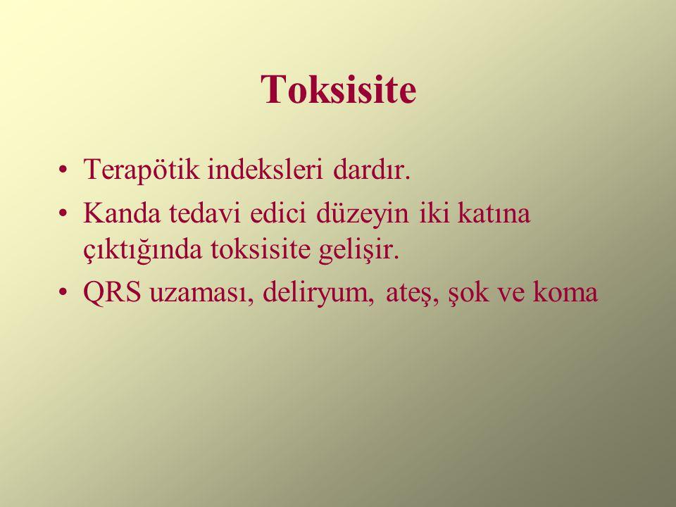 Toksisite Terapötik indeksleri dardır.
