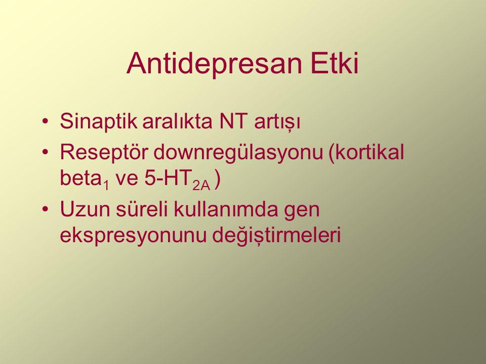 Antidepresan Etki Sinaptik aralıkta NT artışı