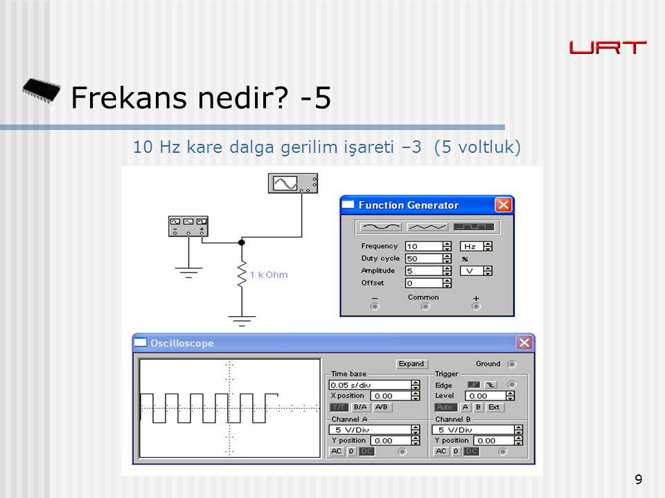10 Hz kare dalga gerilim işareti –3 (5 voltluk)