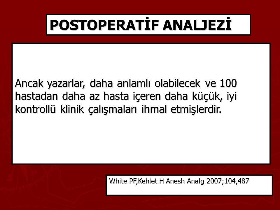 POSTOPERATİF ANALJEZİ